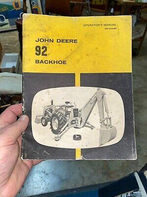Vintage John Deere 92 Backhoe Operators Manual