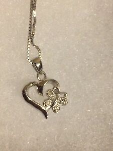 Silver Heart and Butterfly necklace