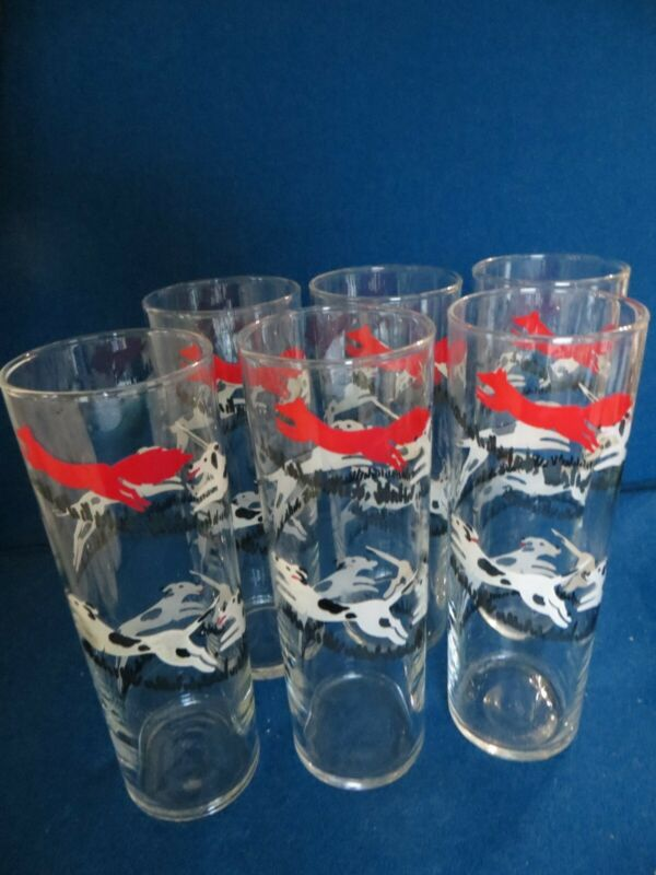 Lot 5 Vintage LIBBEY Glasses TALLY HO Tall Cooler Highball Fox Hunt MCM Barware