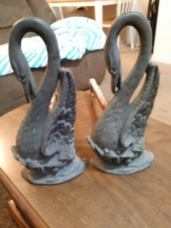 (R) Vintage Solid Brass Swan Fire Dogs Andirons Fireplace Decor Orig.