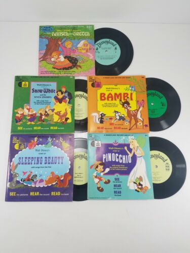 Walt Disney Records and Record Books Lot - See, Hear, Read - See Desc.