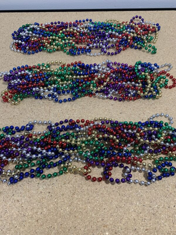 "Rainbow Bead Christmas Tree Garland Multi Colored Lot Of 3 - 100"" Each"