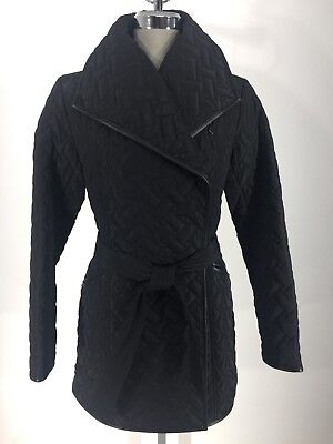 Cole Haan Belted Coat - Cole Haan New WT Black belted Quilted Women's Coat leather trim size S,M,L