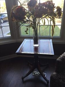 Vintage Wooden and Leather Side Table