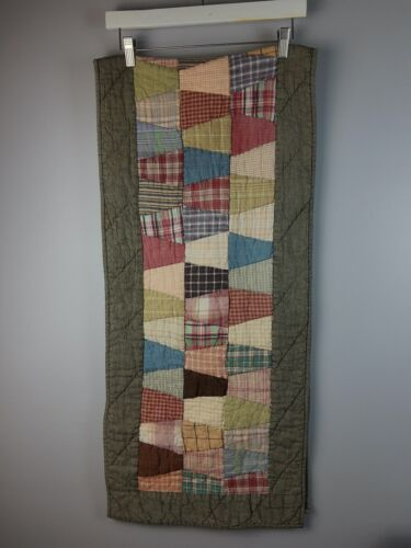 Vintage Handmade Quilt Piece Table Topper Table Runner 15.5 inch x 68 inches
