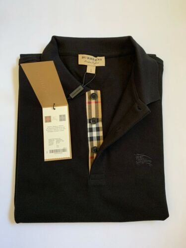 BURBERRY LONDON  MEN S POLO OUTLET SHORT SLEEVE CHECK PLACKET SHIRT BLACK