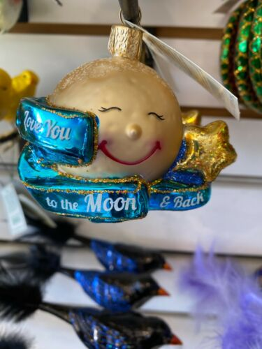 Merck Old World Christmas Glass Ornament Love You To The Moon & Back 22041
