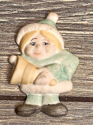 "Vintage Christmas Tree Ornament Porcelian Girl Elf 2.5"" Green Suit"