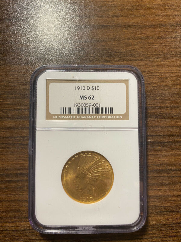 1910-D Indian Head $10 Gold Eagle NGC MS 62 Ten Dollar Gold Type 4, With Motto