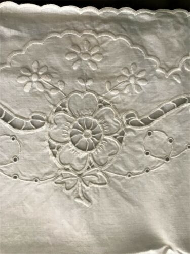 Antique Linen Embroidered Cut Out Large Bolster w/2 matching Pillowcases