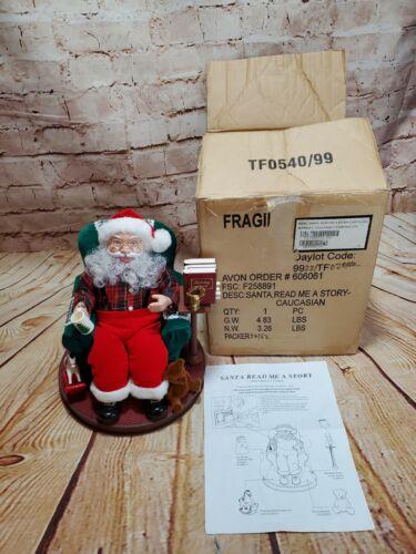 1999 AVON Santa Read Me a Story Talking Christmas Animated Santa w/ Box