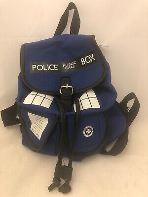 BBC Doctor Who TARDIS Knapsack Backpack 14 x 17in Drawstring Fabric Phone Booth (Doctor Who Backpack)