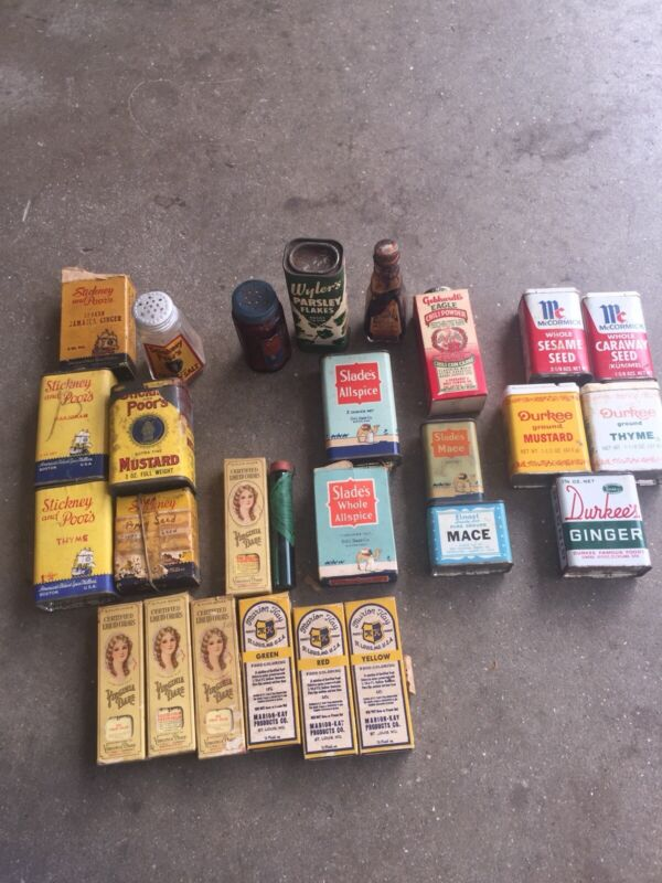Vintage/ Antique Lot of 26 Spice Cooking Tins Advertising sizes and shapes