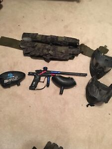 Ego 7 speedball gun with rotor hopper and extras