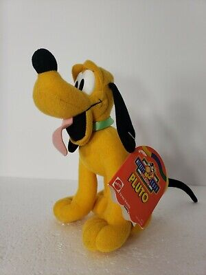 """Vintage Disney Mattel PLUTO Plush Toy with Tags 7"""" Rare Collectible MIckey Mouse"""