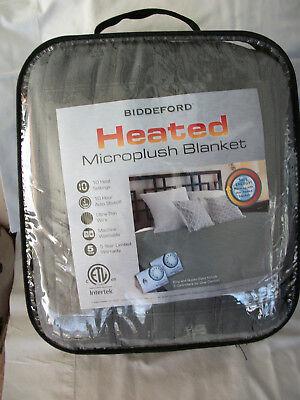 Biddeford Electric Heated Warming Micro Plush King Grey Blanket Digital Control