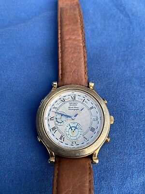 Seiko Stainless Steel Chronograph WorldTimer Date Quartz Mens Watch
