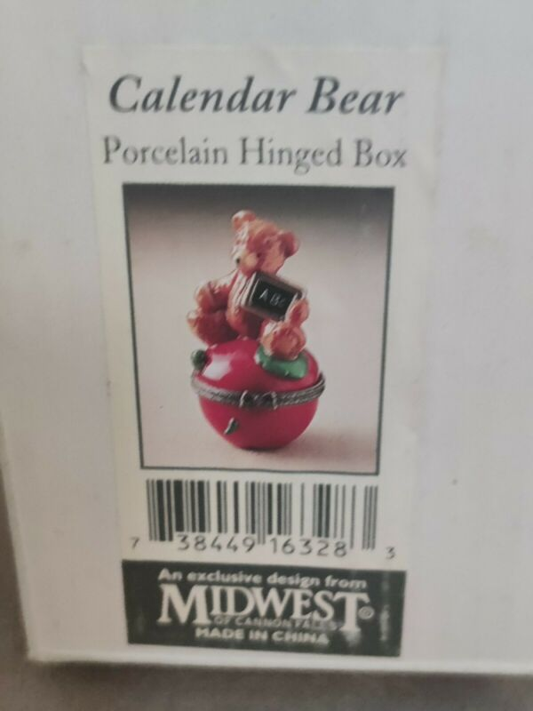 September Calendar Bear on Apple Porcelain Hinged Box Midwest Cannon Falls