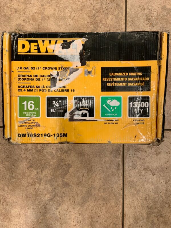 Dewalt 3/4 in. x 1 in. x 16-Ga. Galv. Wide Crown Glue  Staple, (Qty 13,500) New!