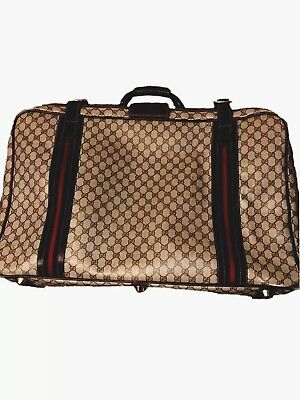 """Vintage 80s GUCCI GG Monogram 28"""" Inch Suitcase Luggage Travel Bag VERY RARE"""