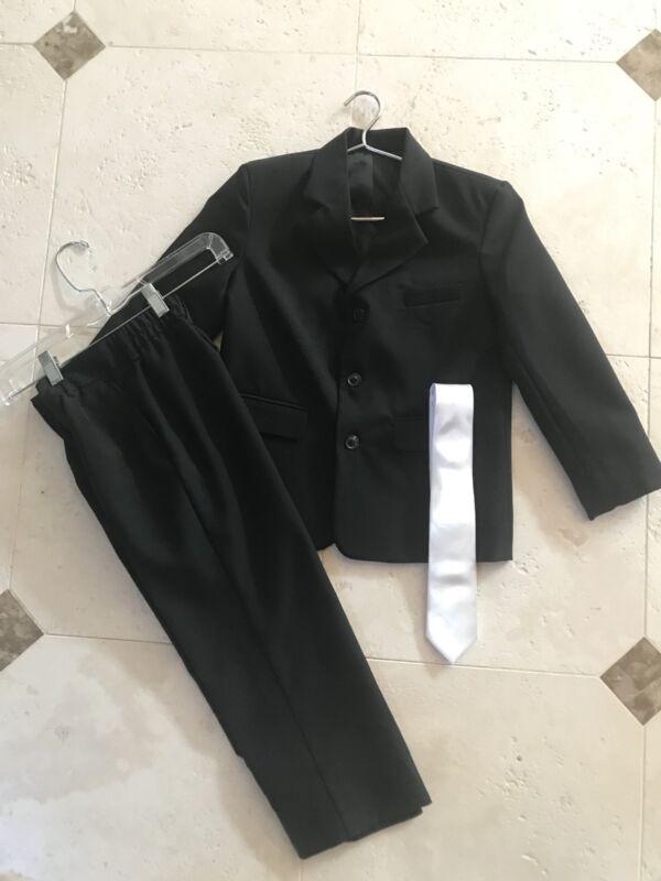 EUC Kid Boys Gino Giovanni Black Jacket & Pants Suit Set With White Tie - Size 7