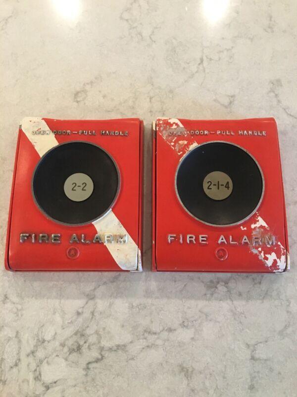 PAIR(2) RARE ANTIQUE VINTAGE ORANGE NYC METAL ACME FIRE ALARM BOXES