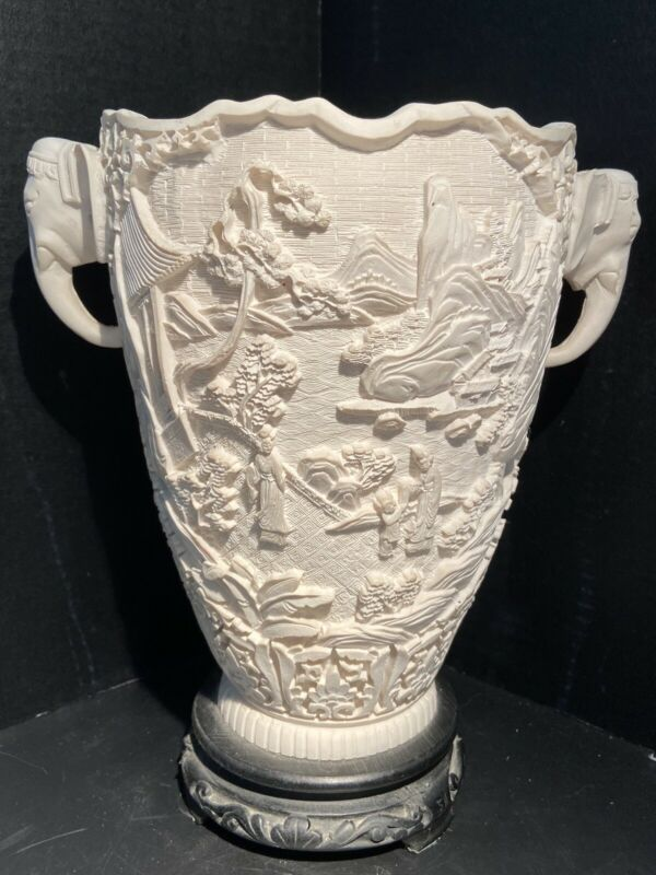Vintage Asian Japanese Carved Raised Relief Vase Elephant Handles Made In Italy