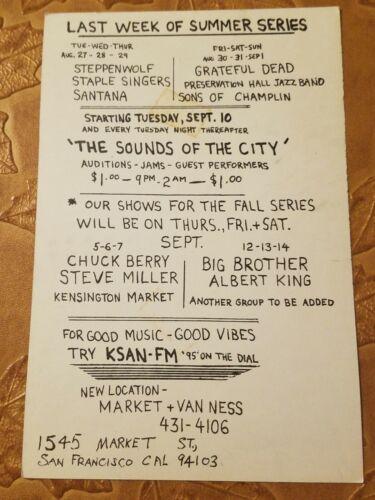 Vintage Bill Graham Postcard Chuck Berry Steve Miller Band Music... - $25.00