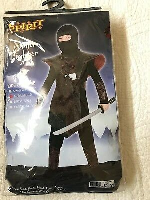 SPIRIT HALLOWEEN NINJA FIGHTER CHILDS COSTUME MED 8-10 NEW IN PACKAGE - Ninja Costume Spirit Halloween