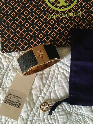 Tory Burch Skinny Leather Inlay Cuff Black Gold Bracelet New With Tags $165