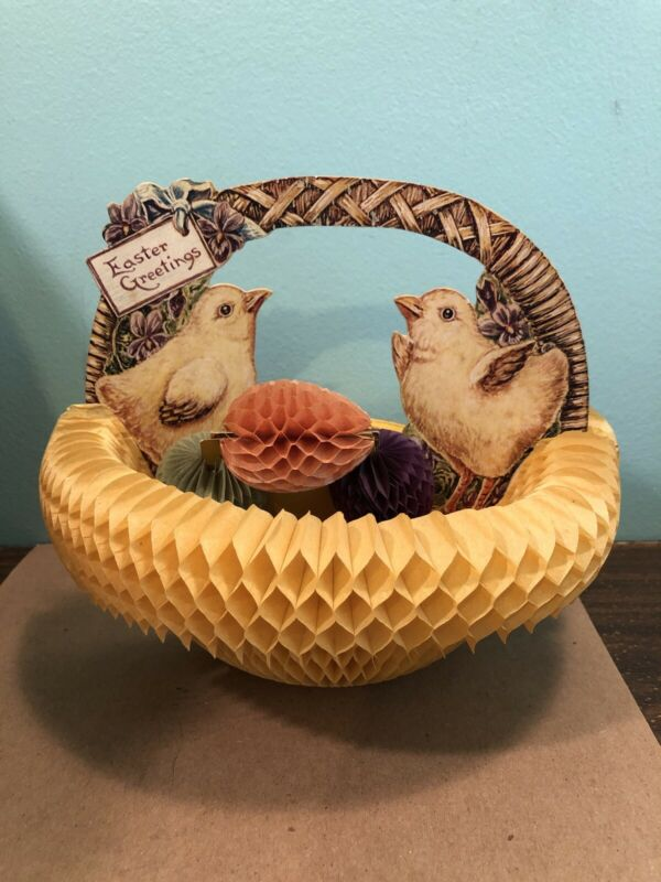 Vintage 1926 Beistle Easter Greetings Basket with eggs Honeycomb Tissue Art