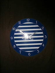 New-13.5 Round Glass Wall Clock.Nautical Clock.White & Blue Striped Wall Clock