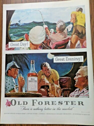 1954 Old Forester Whiskey Ad Marlin Fishing 1954 Seaforth Shaving Lotion Ad