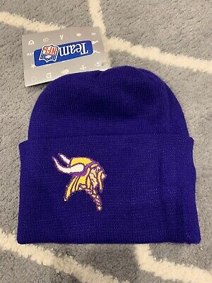 Minnesota Vikings Winter Hat (Vtg NFL Minnesota Vikings Warm WINTER BEANIE HAT Cap NOS NWT 90s MADE IN)