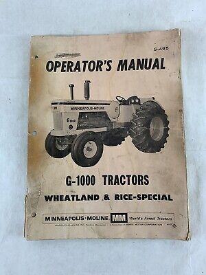 Minneapolis Moline G-1000 Tractors Operators Manual S-495