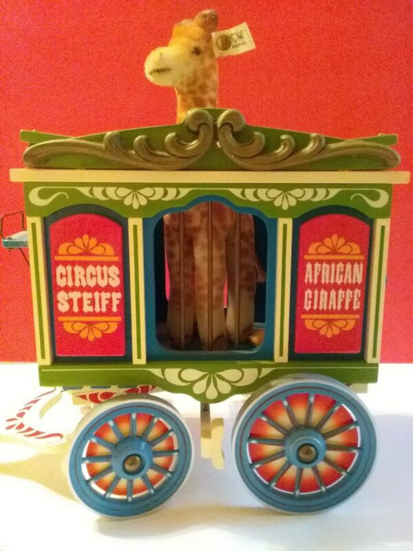 Steiff Golden Age Of The Circus, Mohair Giraffe In Wagon W/ Org Box & COA, Lmtd