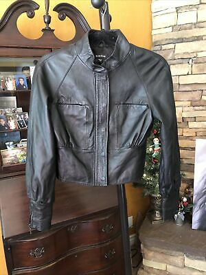 Bebe Calf Leather Jacket Black Cropped Zip Cuff Button Front Biker Moto Sz XS