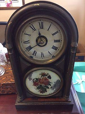 Antique SETH THOMAS Shelf Mantel Clock. Painted Glass On Inside Of Door.