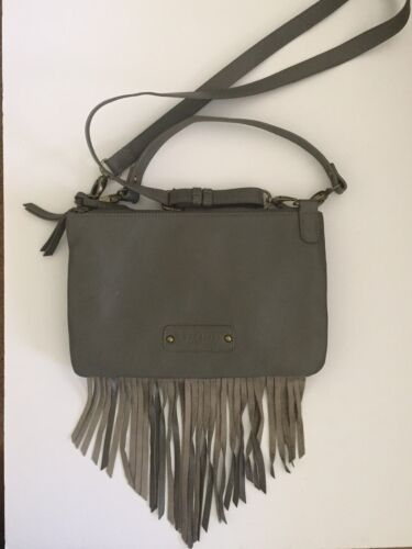 Lucky Brand Crossbody Convertible Purse Fringe Taupe/Brown L