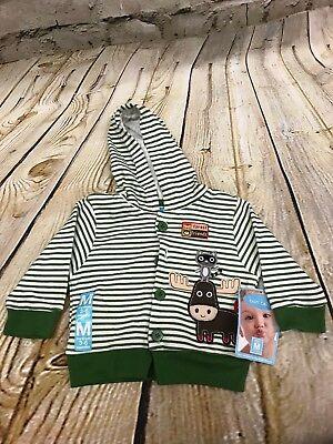 Baby boy  Bon Bebe hoodie Size 3-6 Month striped green Hoodie Vest moose racoon