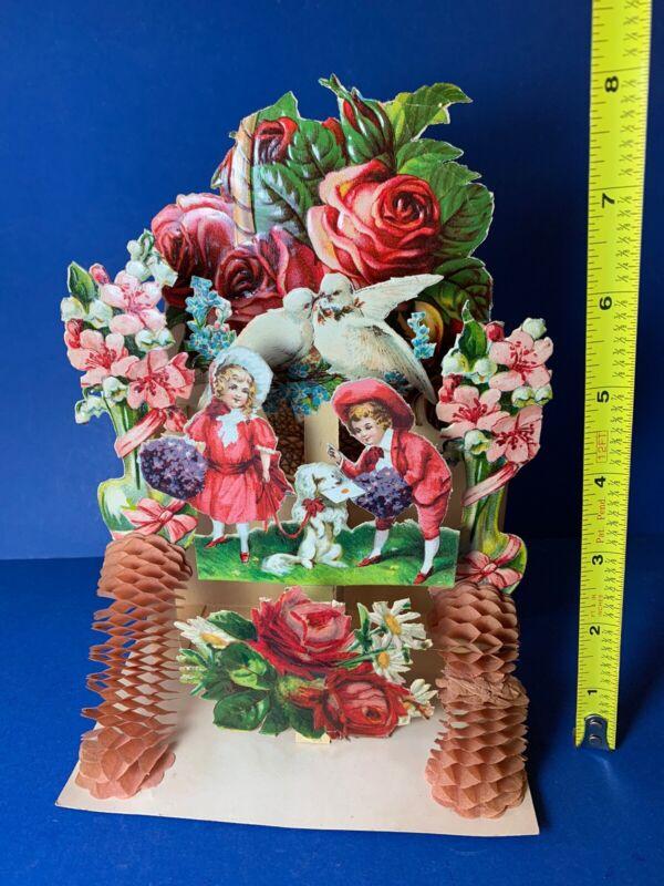 "Antique Vintage 8"" Stand-Up Honeycomb Floral Valentine Card Victorian Germany"