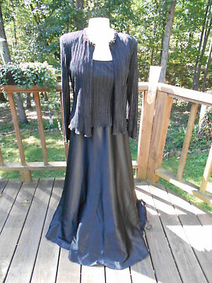 Cachet  2 Piece Black Satin Beaded Evening Formal Dress Gown   Jacket  M   L