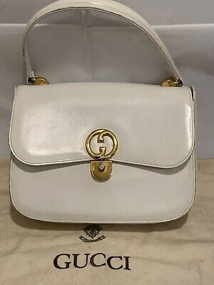 GUCCI VINTAGE WHITE LEATHER GOLD METAL LATE 50's 60's HANDBAG DUST BAG