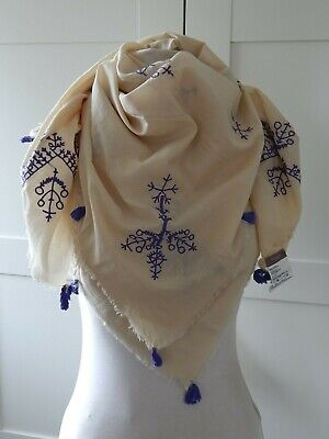 HOSS INTROPIA Cotton Embroidered Scarf With Tassels