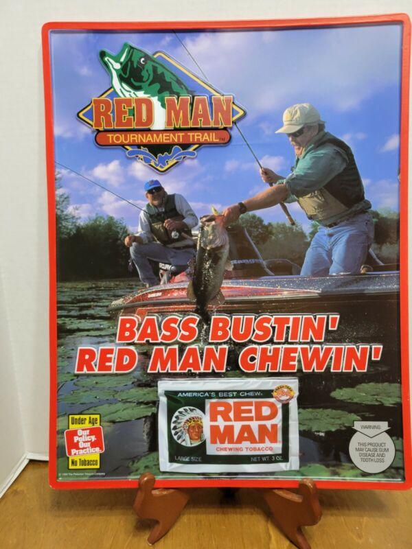NOS 1999 Red Man Tournament Trail Sign Bass Bustin