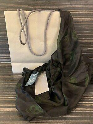 Alexander McQueen Silk Black & dark green Skull scarf 100% AUTHENTIC Goth/Biker