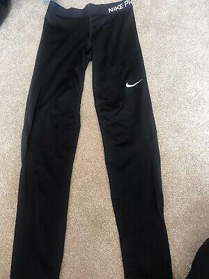 Womens Nike Pro Leggings Tight Fit FullLength Black Gym Yoga Size S
