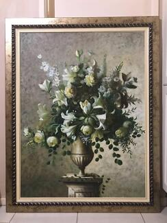 Framed Oil Painting - Flowers in Vase