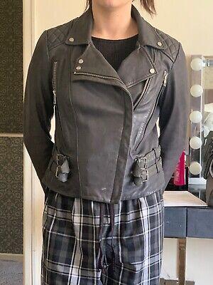 All Saints Size 12 Cargo Dark Grey Leather Jacket VGC