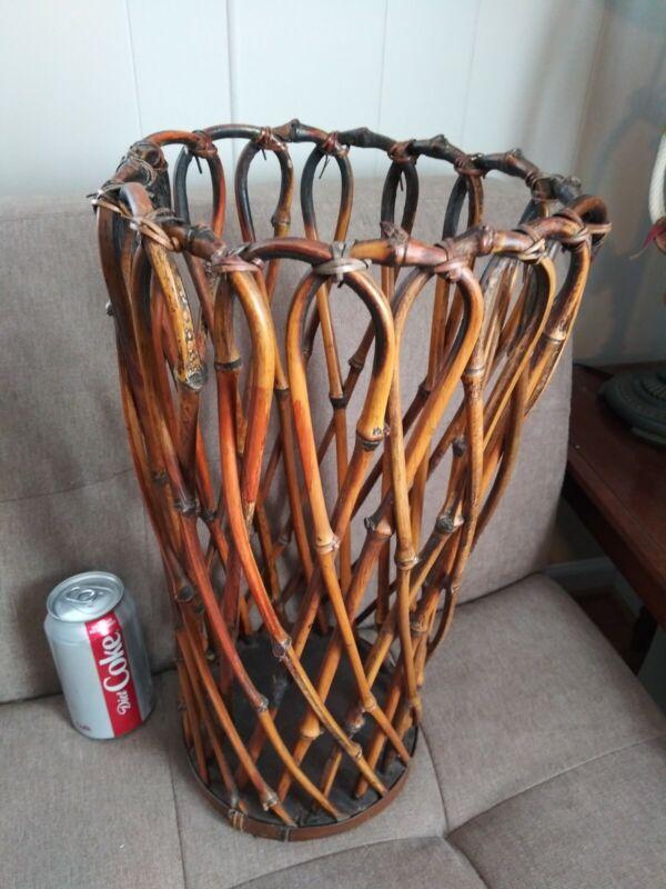 Vintage Bamboo Wicker Umbrella Stand